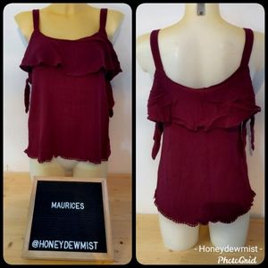 MAURICES Wine Cold Shoulder Spaghetti Straps Top
